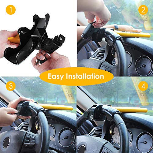 AUTOLOVER Car Steering Wheel Lock, Universal Heavy Duty Car Lock T Style Anti-Theft Car Auto Security Rotary Locking Car Anti-Theft Device for Most Vehicles