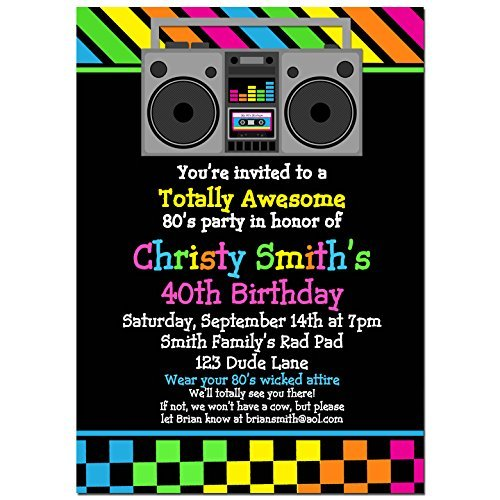 80's Invitations with ANY Wording Printed or Printable - Dance Party, Girl's Party, 80's themed Birthday Invitation (Printable Birthday Girl)