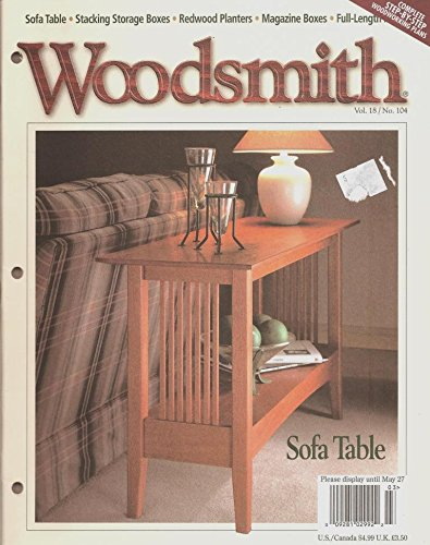 Craftsman Magazine Table - Woodsmith Magazine - April 1996, (Volume 18, No. 104) - Craftsman Style Sofa Table, Stacking Storage Boxes, Magazine Boxes, Redwood Planters, Box Joints, Full - Length Mirror, Segmented Arch.