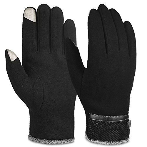 Vbiger Winter Gloves Texting Mittens Warm Cold Weather Gloves For Men (New Black)