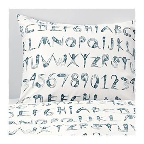 Ikea Duvet cover and pillowcase(s), numbers, dark green, blue Twin size (Ikea Twin Bedding)