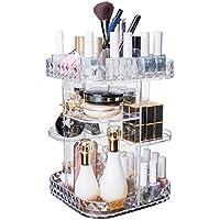Makeup Organizer With Diamond Pattern 360 Degree Rotating Cosmetic Organizer, DIY Adjustable Height Large Capacity…