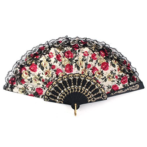 DealMux Woman Fabric Rose Pattern Chinese Style Summer Dancing Foldable Hand Fan Beige
