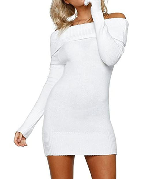 2c2284cb9ee Womens Sexy Off Shoulder Long Sleeve Mini Pencil Bodycon Knitted Sweater  Dress