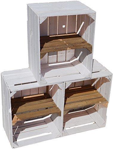 """Juego de 3 USADO blancas sólido Caja madera con ANTIGUO mittebrett """"TRANSVERSAL"""" -"""