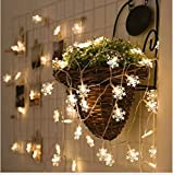 Solar String Lights,20 ft 30 LEDs Snow Shape Solar Powered Waterproof Lamp for Indoor&Outdoor Christmas Tree Patio Gardens Home Party Decoration(White).