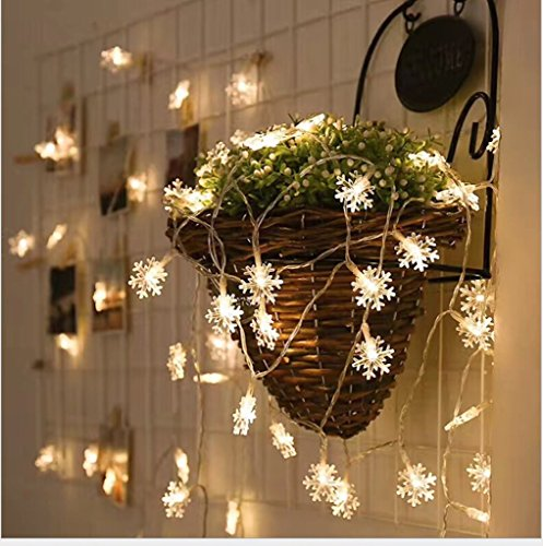 Solar String Lights,20 ft 30 LEDs Snow Shape Solar Powered Waterproof Lamp for Indoor&Outdoor Christmas Tree Patio Gardens Home Party Decoration(White). by Sirwolf