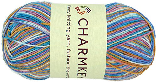 Charmkey Painted Sock Yarn Baby Soft Thin 2 Fine Colorful Prints Wool Ease Blended 5 Ply Superwash Acrylic Self Striping Thread for Stocking Glove Hat, 1 Skein, 3.53 Ounce (Rainbow ()