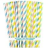 Pastel Stripe Paper Straws - Light Blue Pink Yellow Mint Green - 7.75 Inches - 100 Pack