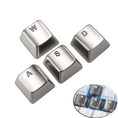 Weston Jewelers Electroplating Sliver Keyset ZincTransparent Metal WASD 4 Key Caps with Backlit Cherry MX Keycap