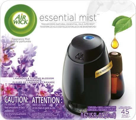 Air Wick Essential Oils Diffuser Mist Starter Kit (Gadget + 1 Refill), Lavender & Almond Blossom, Air Freshener (For Bathroom Best Diffuser)