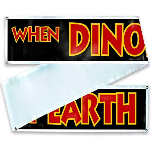 "Jurassic Park Banner Sign Replica Prop - Jurassic Park/World Movie Fan Props -Toys - Games - Shirts. 3 Sizes: 10 Ft, 20 Ft or 30 Ft :""When Dinosaurs Ruled The Earth"" -"