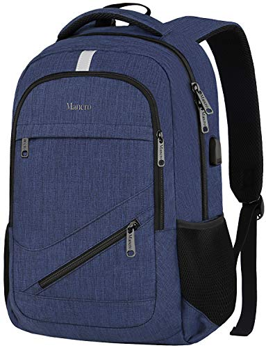 - Business Laptop Backpack, RFID Travel Backpack Computer Bag for Men Women, Slim Water Resistant Anti Theft School Bookbag with USB Charging Port for Boys Girls Fit 15.6 in Laptop & MacBook(Navy Blue)