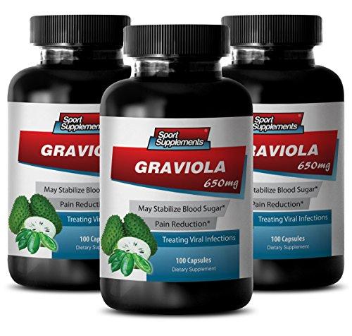 Guanabana graviola - Graviola 650mg - High in vitamin C (3 Bottles - 300 Capsules)