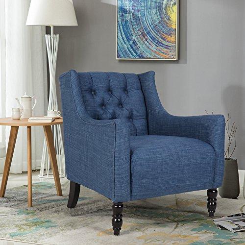 Zenith-Monet Classic Tufted Design Imitation Linen Fabric Accent Chair Club Chair Single Sofa Armchair (30'' x 31'' x 32'', Denim) Club Chair Denim