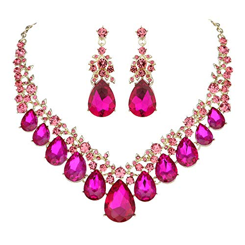 Youfir Bridal Rhinestone Crystal V-Shaped Teardrop Wedding Necklace and Earring Jewelry Sets for Brides Formal Dress (Fuchsia) ()