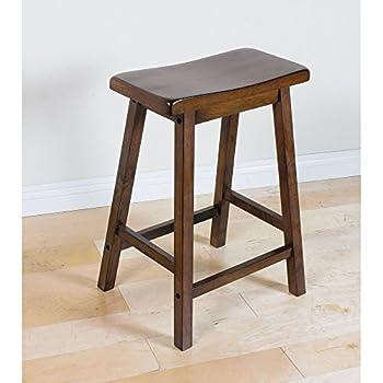 set of 2 acme gaucho stool walnut finish 24inch