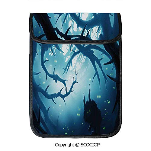 SCOCICI Protective Storage Carrying Sleeve Case - Animal with Burning Eyes in Dark Forest at Night Horror Halloween Illustration Compatible with 12.9 Inch iPad Pro Tablet]()