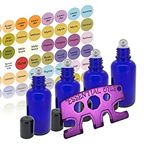 4 1oz Glass Stainless Steel Roller Bottles -Cobalt Blue 30ml - Free Metal Roller Bottle Opener & 192 Essential Oil Bottle Cap Sticker Labels
