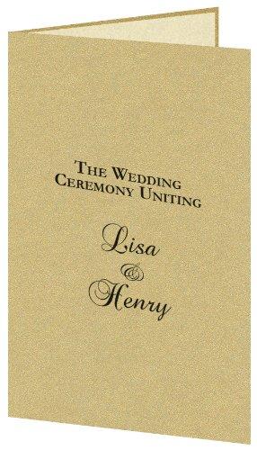 (Gold Leaf Metallic Wedding Program Kit, Ivory Parchment Insert, 50 Pack)