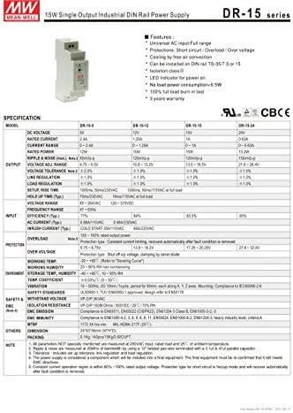 Mean Well 15v hutschienen Alimentatore hdr-30-15 30w 2a ULTRA SLIM QUADRO Alimentatore CV