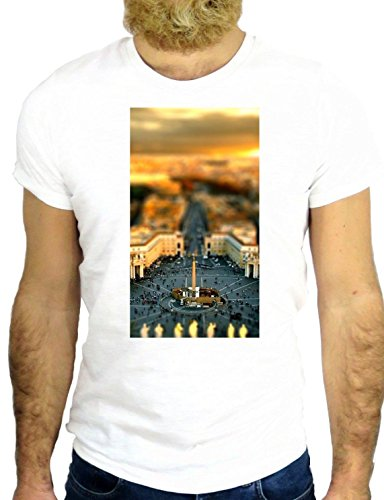 T SHIRT Z1100 VATICAN VATICANO ROME ITALY VIEW CITY NICE COOL MADE IN ITALY GGG24 BIANCA - WHITE S