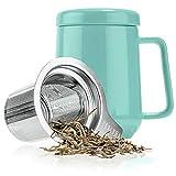 Peak Ceramic Tea Mug w/ Stainless Steel Infuser & Lid - #1 Best