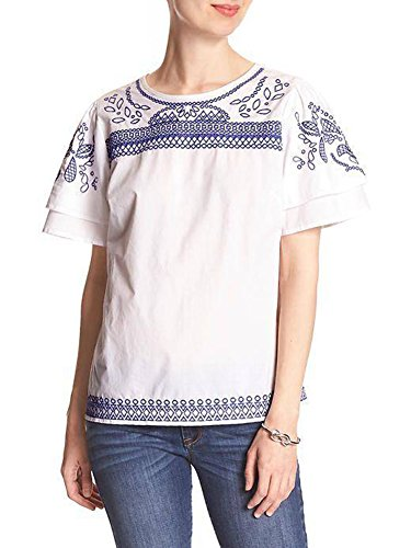 Banana Republic Women's Embroidered Double Sleeve Blouse top White Blue