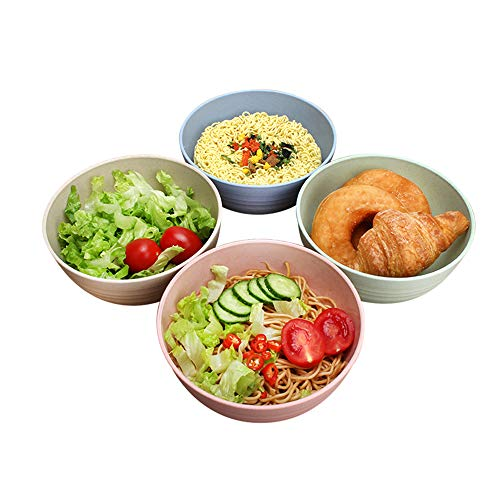 "Wheat Straw Bowls Set of 4 - Ccinny 6"" 26 OZ Bowls Set - Cereal Bowls - Deep and Large Bowls Set for Soup,Pasta,Salad,Noodle,Fruits,Desserts -BPA Free Microwave Dishwasher Safe Bowls"