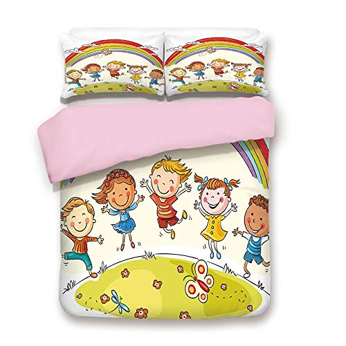 Hill Euro Quilt - Pink Duvet Cover Set,Queen Size,Kids Jumping with Joy on a Hill Under Rainbow Cartoon Style Drawing Decorative,Decorative 3 Piece Bedding Set with 2 Pillow Sham,Best Gift For Girls Women,Earth Yellow
