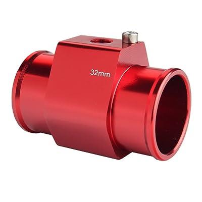 Dewhel Aluminum Red Water Temp Meter Temperature Gauge Joint Pipe Radiator Sensor Adaptor Clamps 32mm: Automotive