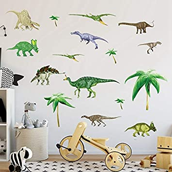 Amazon.com: Linker Wish Dinosaur Wall Stickers Dinosaurs Kids Room Children  Vinyl Dino Wall Stickers Baby Boy Nursery Wall Decals: Baby