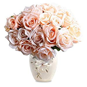 Lemax Artificial Flowers 9 Heads Real Looking Fake Roses for Wedding Bouquets Party Arrangements Home Garden Office Decorations 70