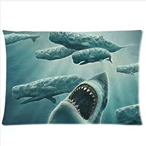 Best Custom Unique Underwater Predators Shark Pillowcase,One Side Pillowcase Pillow Cover 20x30 inches by ruishername