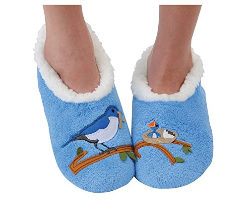 Snoozies Womens Classic Splitz Applique Slipper Socks - Mother Bird, Large