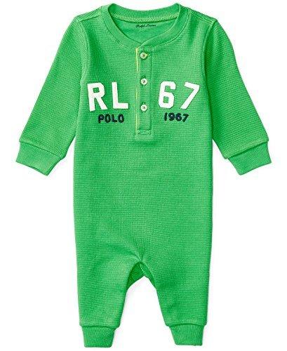 Ralph Lauren Baby Boys Henley Waffle Knit Cotton Coverall (12 Months, Neon - Rl Lauren 67 Ralph
