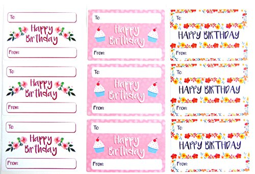 Happy Birthday Gift And Present Tags Colorful Greeting Stickers Self Adhesive Labels