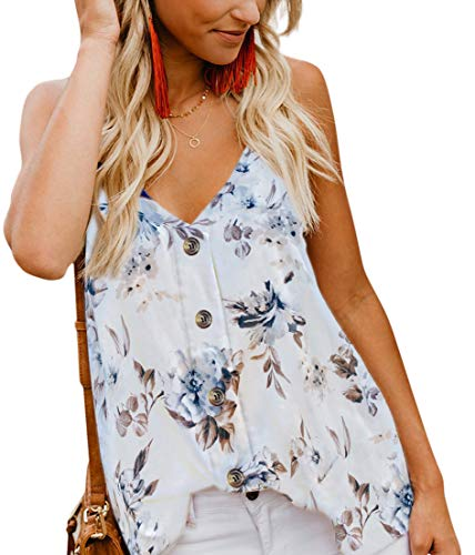 Women's Floral Cami Tank Top Button Down V Neck Strappy Loose Casual Sleeveless Camisole Shirts Blouses White M ()