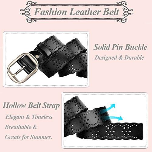 Women Leather Belts 38mm Wide Jeans Belt Fashion Belts for Skirts Metal Buckle Belts Leather Black Fits 27 Inch to 35 Inch By MoAnBee by MoAnBee (Image #3)