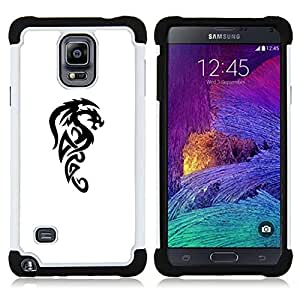 GIFT CHOICE / Defensor Cubierta de protección completa Flexible TPU Silicona + Duro PC Estuche protector Cáscara Funda Caso / Combo Case for Samsung Galaxy Note 4 SM-N910 // Dragon Mythical Creature Decal Black //