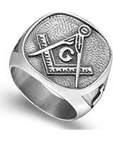 Size 7-15 Retro Vintage Stainless Steel Masonic Signet Ring Mason Master