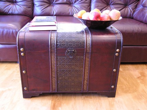 Old Fashioned Wood Storage Trunk Wooden Treasure Chest - Enhanced Large Size by Styled Shopping