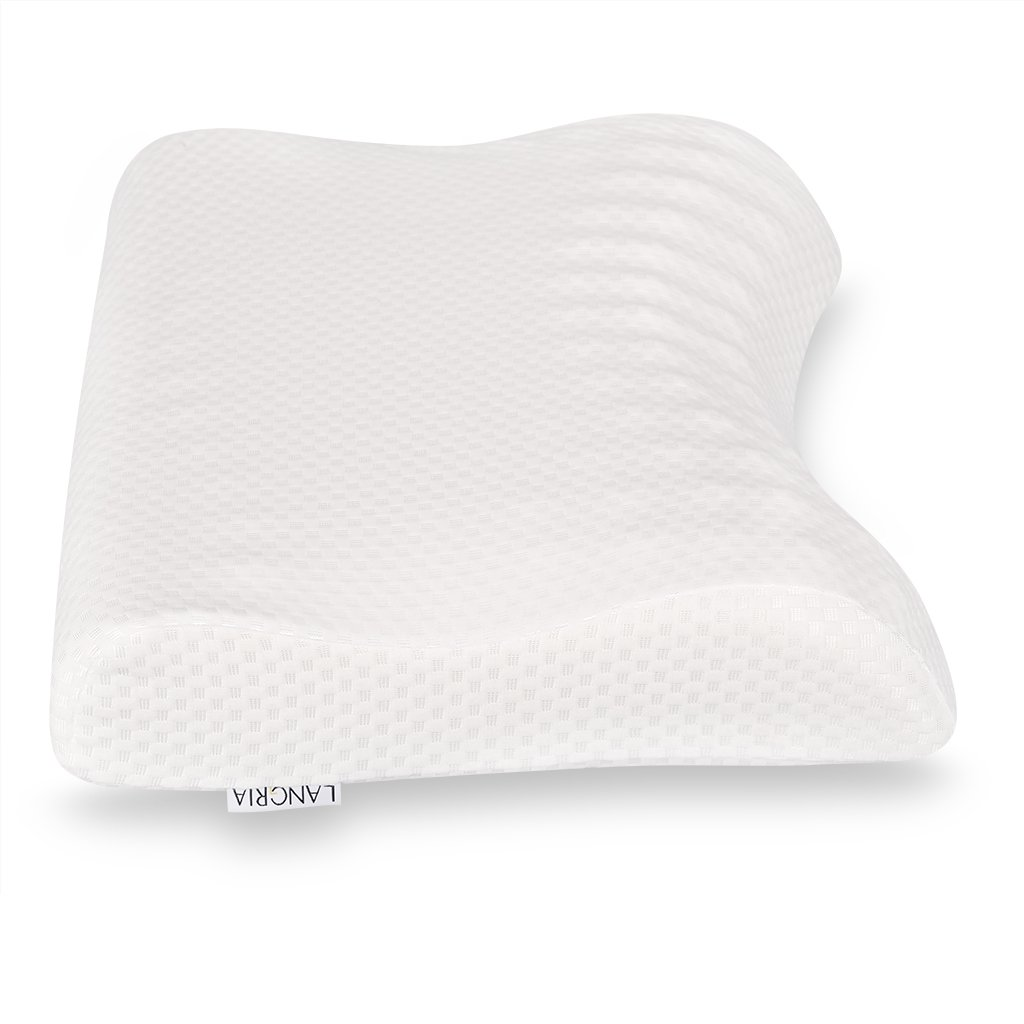 with Soft and Comfortable Washable Cover-55 * 40cm Medium-soft Firmness white LANGRIA Memory Foam Pillow Cervical Deep Sleep Massage Neck Pillow Contour Neck Pillow Hypoallergenic Pillow