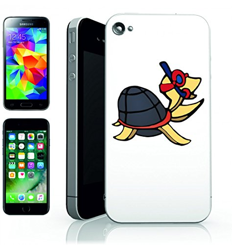 Smartphone Case tartaruga anthropomorphe degli Animali del fumetto per Apple Iphone 4/4S, 5/5S, 5 C, 6/6S, 7 & Samsung Galaxy S4, S5, S6, S6 Edge, S7, S7 Edge Huawei HTC – Divertimento Motiv di cult