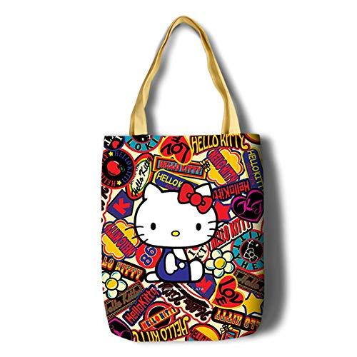 YOURNELO Girl's Cartoon Hello Kitty Melody Printing Simple Canvas Shopping Bag Handbag Tote Shoulder Bag (KT2) ()