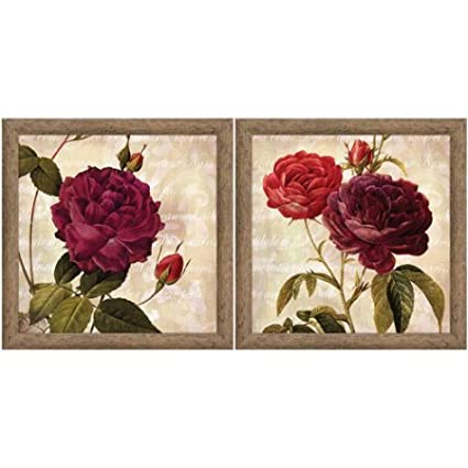 Burgundy Rose Floral Wall Art Set of 2 u0026quot; ...  sc 1 st  Amazon.com & Amazon.com: Burgundy Rose Floral Wall Art Set of 2