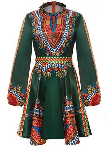Women's Long Sleeve Round Neck Floral Traditional African Print Dashiki A-line Skater Dress Green, XX-Large