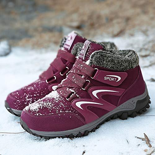 Scarpe Unisex Impermeabili da Scarpe Montagna Antiscivolo Rosso Arrampicata Caloroso Scarpe da Scarpe Invernali Trekking rzwqtz4