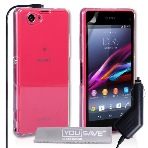 Yousave Accessories Sony Xperia Z1 Compact Case Crystal Clear Hard Cover With Car Charger
