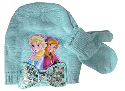 Disney Frozen Anna Elsa Hat with Bow and Mittens Set - Turquoise [4012] (Frozen Gloves)